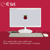 RASPBERRY PI 3 Model B Board with E-tel Monitor, Key Board, Mouse & Dongle